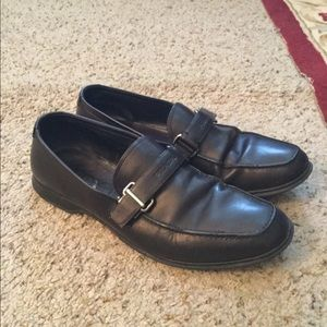 PRADA SIGNATURE BUCKLE BLACK LEATHER LOAFERS SHOES